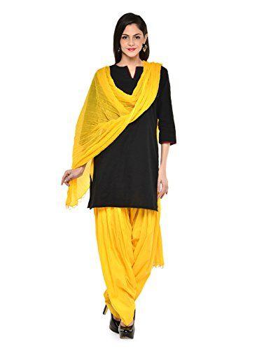 Stylenmart Women Cotton Solid Full Patiala Salwar Dupatta Set - http://weddingcollections.co.in/product/stylenmart-women-cotton-solid-full-patiala-salwar-dupatta-set-stmapa078636-_yellow-_free-size/