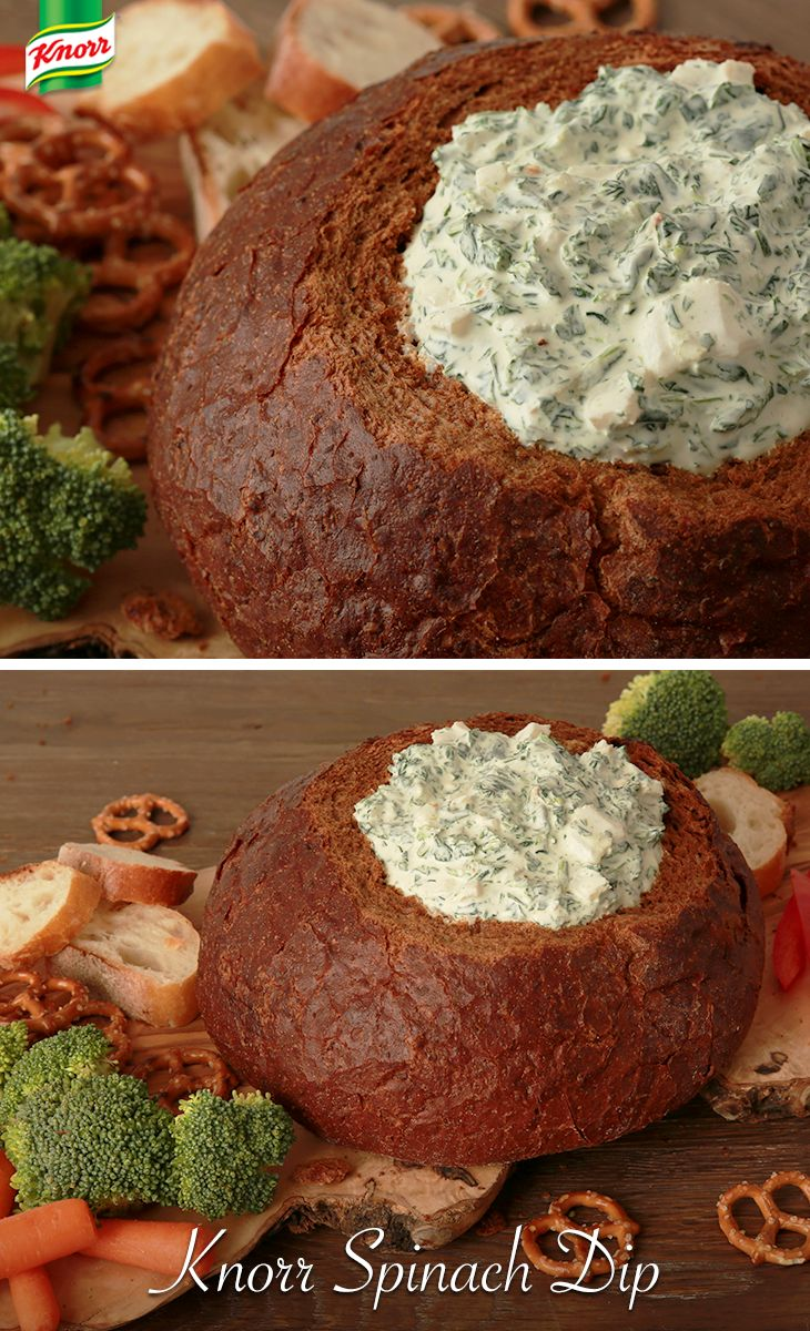 A cool and creamy, quick and easy, party-perfect Knorr Spinach Dip recipe is just what your holiday menu needs! It's a perfect starter to welcome your holiday guests with. Just combine all ingredients and chill about 2 hours. Serve in a bread bowl and pair with your favorite dippers!