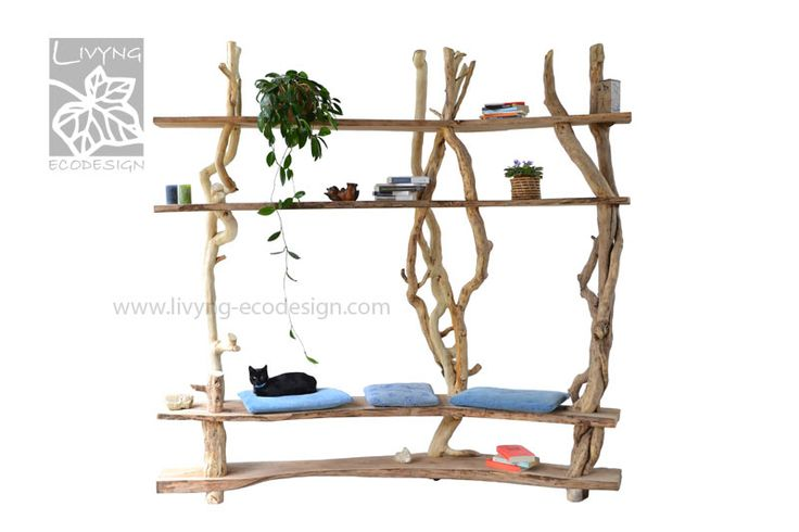 Library with sitting space, with light but complex structure. #LivyngEcodesign #driftwood #bookself