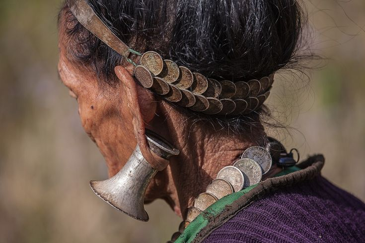 Arunachal Pradesh : Hayuliang, Digaro Mishmi   India | Details of the jewellery worn by an elderly Digaro Mishmi woman. Hayuliang, Arunachal Pradesh | ©Frans Devriese