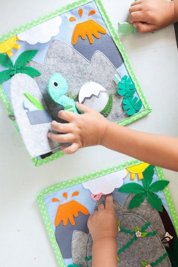 Quiet Book Dinosaur Quiet Book Page Felt Dinosaur Quiet Etsy In 2020 Felt Play Mat Baby Quiet Book Felt Books