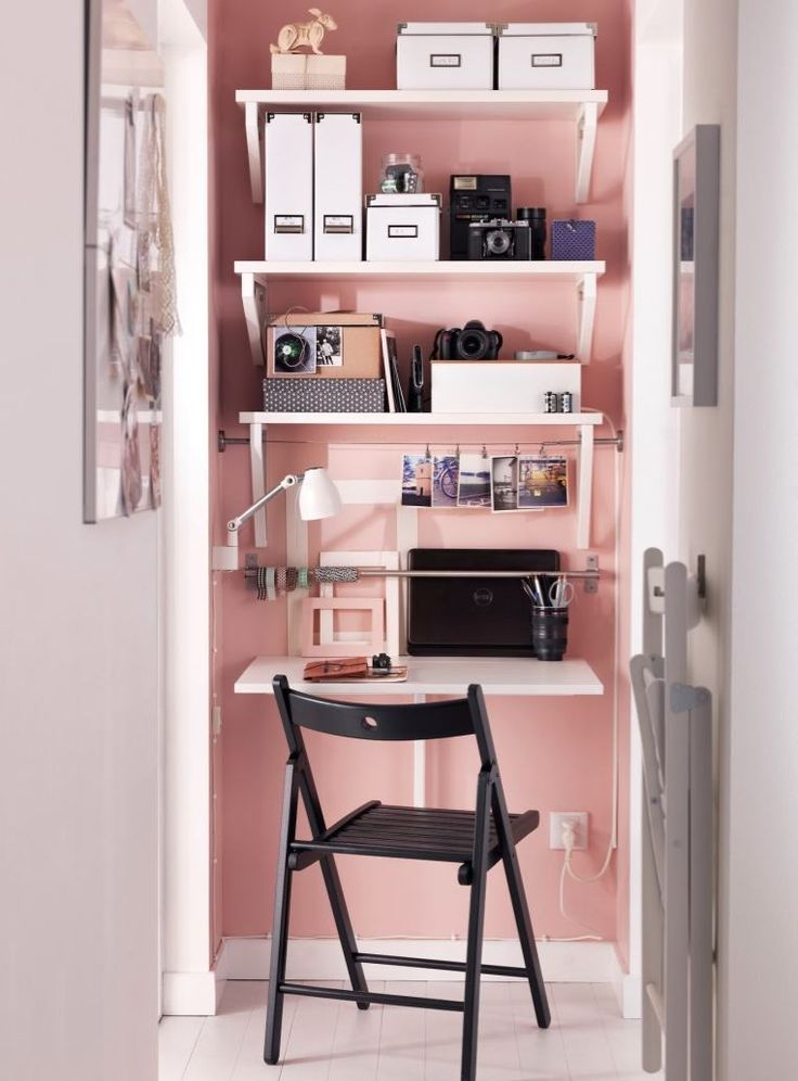 Home office with alcove desk, shelving and doors Make full use of an ...