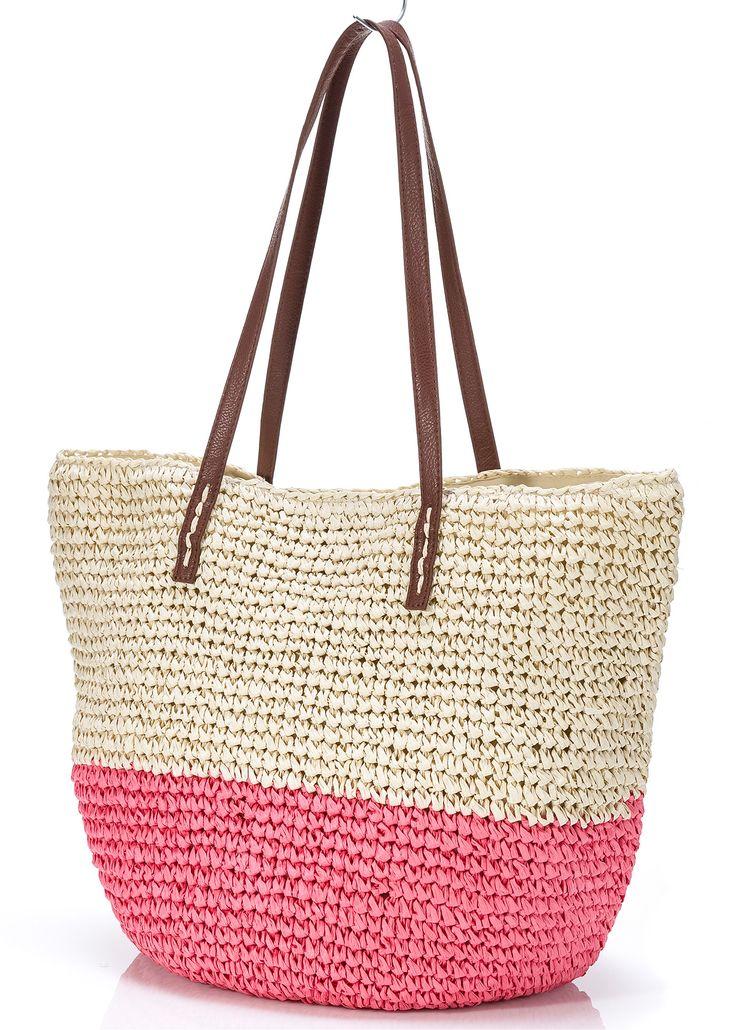 Соломенная сумка «Отпускное настроение», bpc bonprix collection, натуральный/нежный ярко-розовый