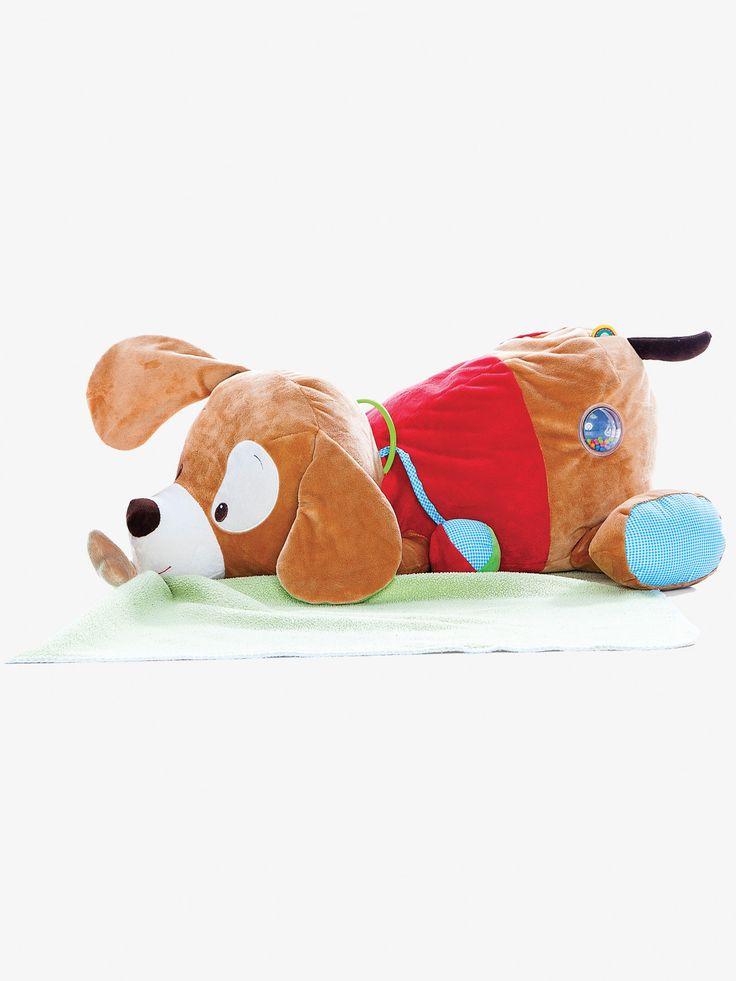 Grande peluche d'activités multicolore - Ce joli chien tout doux va vite devenir le meilleur ami de bébé pour les câlins et les petits jeux rigolos !  DIMENSIONS : 57 x 40 x 22 cm    Os musical Anneau de dentition Boule sonore Miroir Texture
