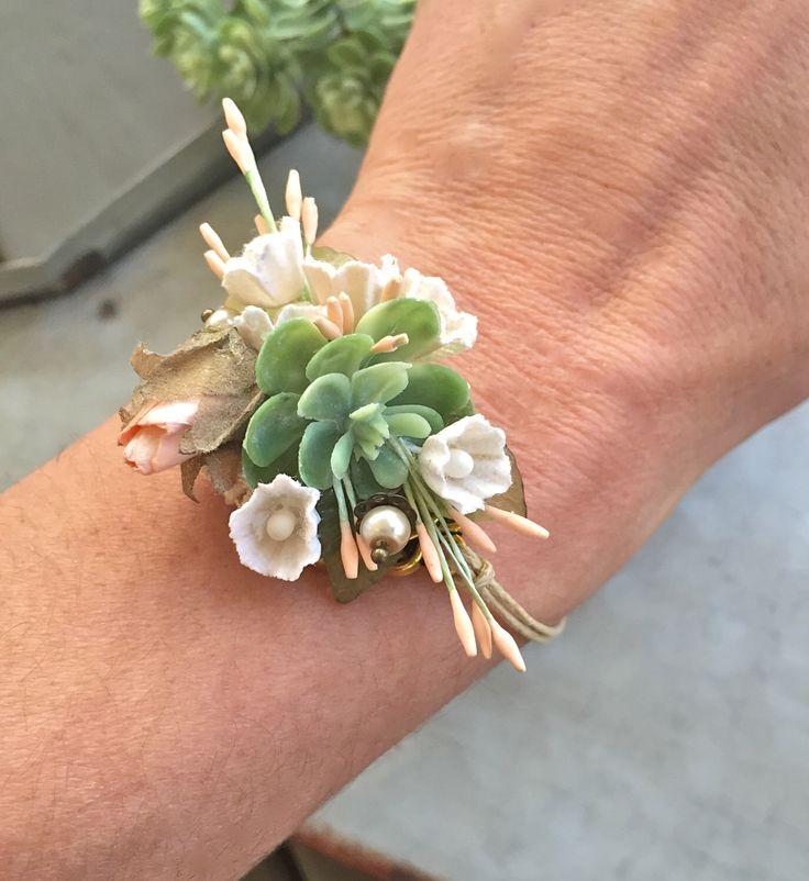 Succulent corsage bracelet , wedding flower bracelet, prom, succulent wedding,prom corsage. Tiedupmemories by tiedupmemories on Etsy https://www.etsy.com/listing/495758226/succulent-corsage-bracelet-wedding