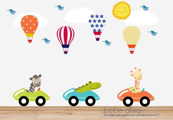 Up up and away! Our fun and whimsical Hot Air Balloons also feature cute Jungle Animals driving cars, which is sure to entertain your little one. A fun way to decorate a child's bedroom, play room, or nursery. Fully Removable, Repositionable, Reusable, Non Toxic, and will not leave residue on your wall - unlike vinyl wall decals.  ♥ Simply peel and stick - no fussy application ♥ Fully REMOVABLE and REUSABLE (unlike vinyl wall decals) ♥ Thin fabric wall decal – NOT pvc vinyl ♥ Leaves no…