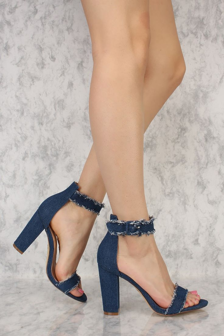 Navy Distressed Double Strap Open Toe Chunky High Heels Denim