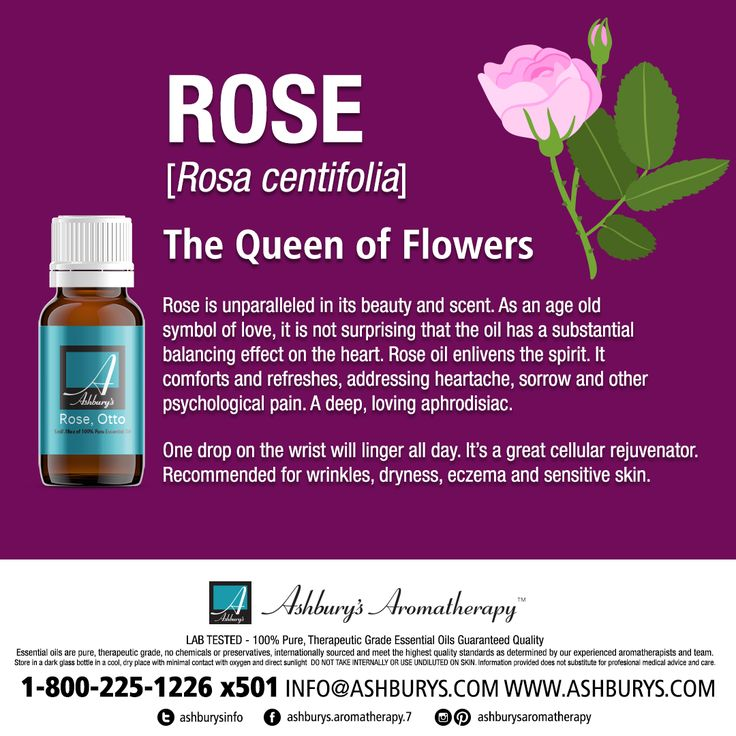 Rose Essential Oil: The Queen of Flowers Rose is unparalleled in its beauty and scent. As an age old symbol of love, it is not surprising that the oil has a substantial balancing effect on the heart. Rose oil enlivens the spirit. It comforts and refreshes, addressing heartache, sorrow and other psychological pain. A deep, loving aphrodisiac.  One drop on the wrist will linger all day. It's a great cellular rejuvenator. Recommended for wrinkles, and dryness #ashburysaromatherapy