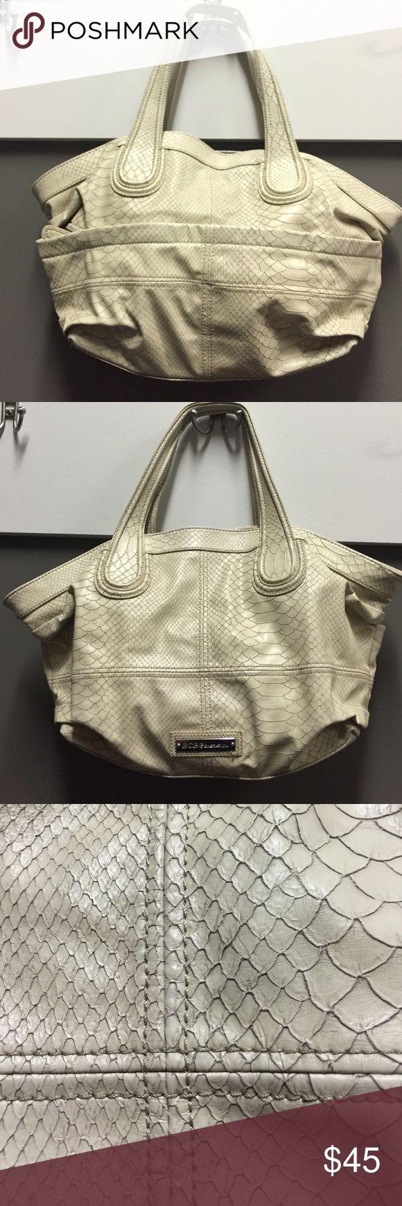 BCBGENERATION Cream Snake Print Handbag Great condition large bogo bag with on trend snake print. Large capacity bag. BCBGeneration Bags Hobos