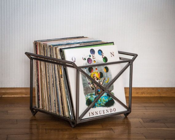 12 Vinyl Record Storage Crate Industrial Minimalistic Style Loft Perfect Has Four Legs Two Wide Handl Vinyl Record Storage Diy Record Storage Vinyl Storage