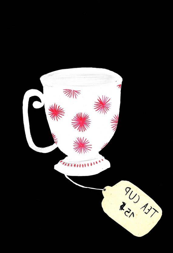Tea Cup peinture originale gouache aquarelle thé théière tasse