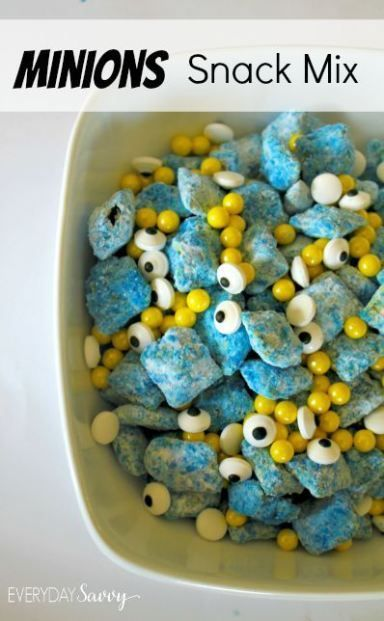Easy Minion Snack Mix recipe. This is perfect for a Minion birthday party or and Minion viewing party.