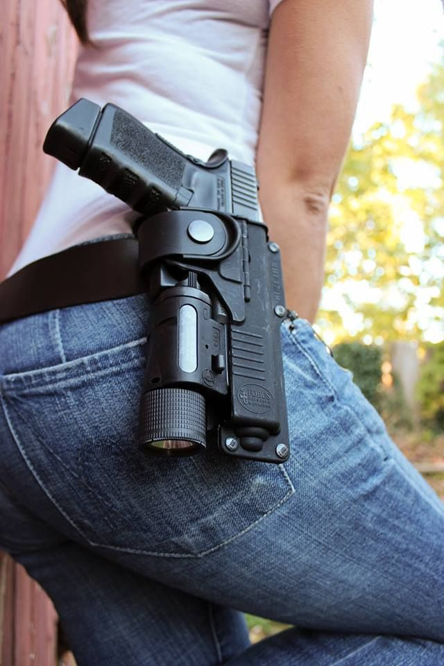 Fobus RBT Holster Although a Glock is pictured, the holster is available for different brands and models. Nice that it allows you to holster a handgun with a light/laser attached.