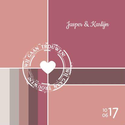 Een moderne en romantische trouwkaart in de kleuren oudroze, grijs en wit, bedrukt met stempel. De binnenkant maakt deze kaart helemaal af!