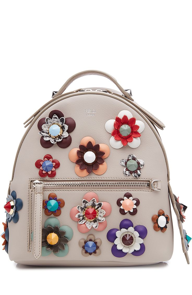 FENDI Leather Backpack With Embellished Flower Appliques. #fendi #bags #leather #lining #backpacks #