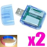 2X - USB 2.0 All in one Mini Multi Card Reader Writer for SD, SDHC, T-Flash, Micro SD, MS, MS Pro, MS Duo, MS Pro Duo, M2 use without adapter - Compatible with Sony, SanDisk, Toshiba, Lexar + 3 Colors Silicon Wrist Band (Personal Computers)By Clear Screen Protector