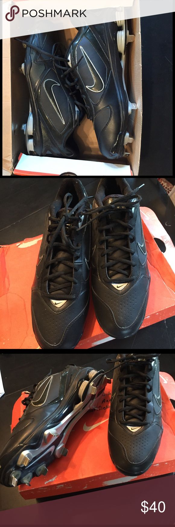 Size 12 Nike Shox Fuse 2 Baseball Cletes Never worn!   Nike Framelite black leather metal spikes with metallic silver.   Fabulous shape - still in box. Nike Shoes Athletic Shoes