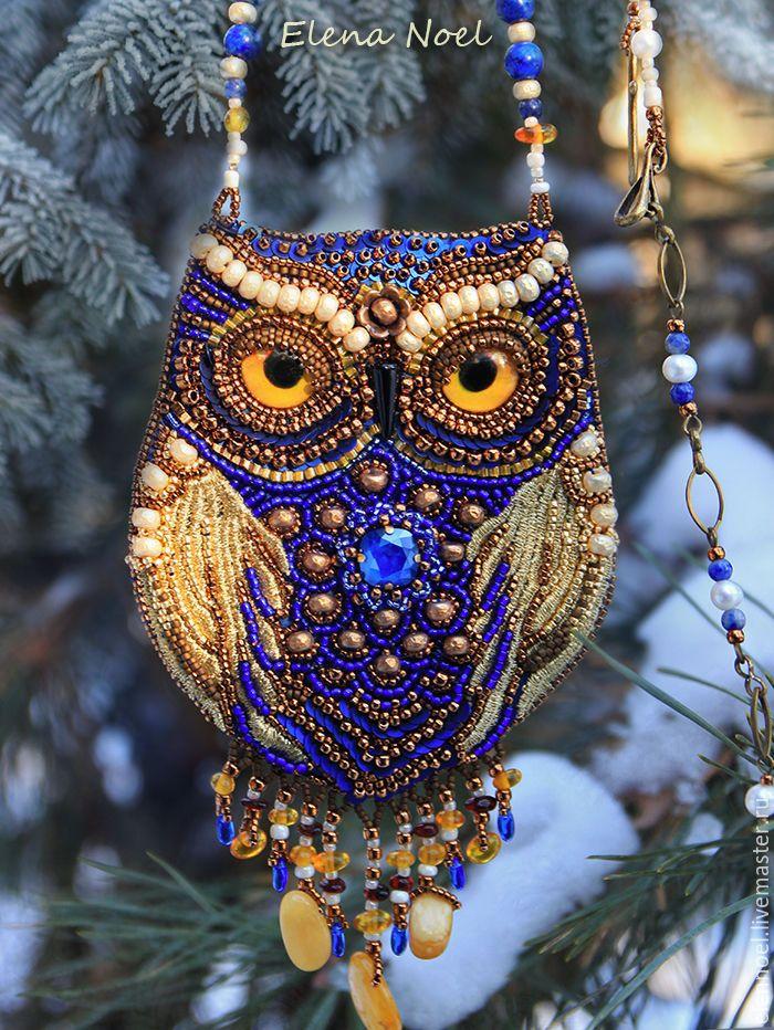 Купить Сказочная зимняя Сова в заснеженном лесу, кулон вышитый бисером - синий, сова, совушка