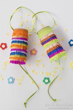 Mini piñatas sorpresitas con tubos de papel higiénico  #manualidades #cumpleaños