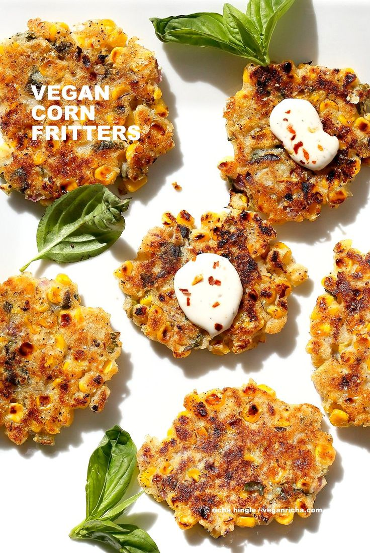Basil Jalapeno Corn Fritters. Easy Gluten-free Vegan Corn Fritters with jalapeno, basil and black pepper. Serve with ketchup, vegan ranch or chutneys of choice. Soy-free Recipe.   VeganRicha.com