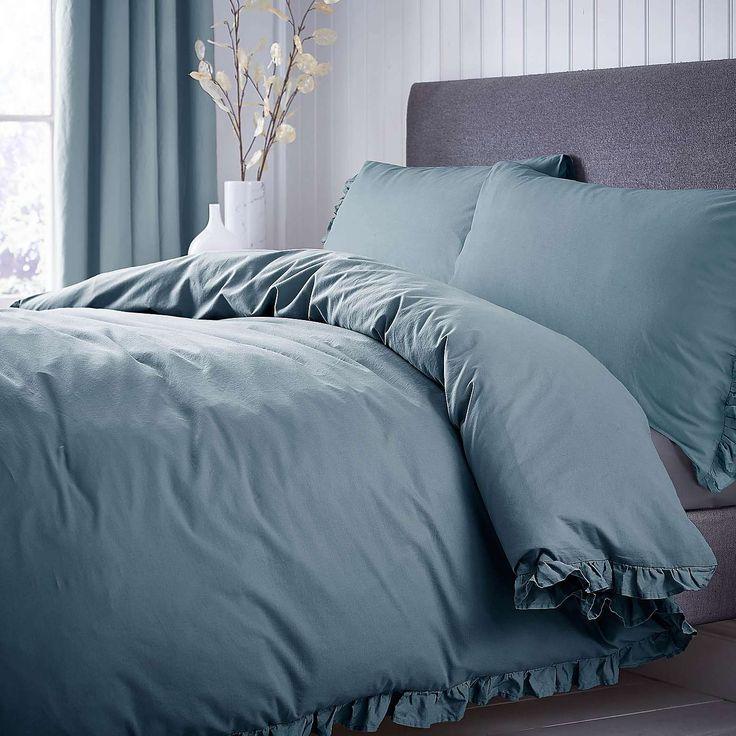 Ruffle Teal Duvet Cover and Pillowcase Set | Dunelm