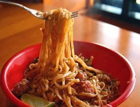 Peanut sauce over noodles. Unless you like it sweet, would definitely cut back on the honey.
