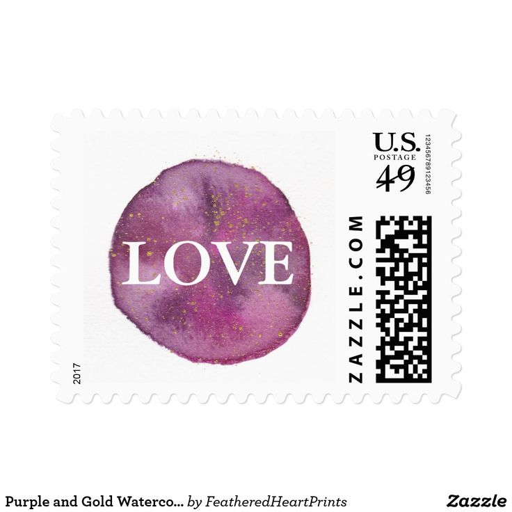 Purple and Gold Watercolor Love Wedding Postage, purple galaxy watercolor painting