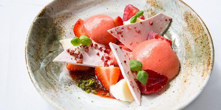 Paul Welburn's stunning summer dessert recipe contrasts light foam and creamy panna cotta with crispy shards of strawberry meringue.
