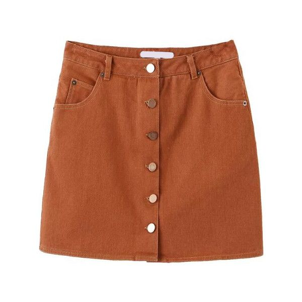 Single Breasted A-Line Khaki Skirt ($18) ❤ liked on Polyvore featuring skirts, bottoms, khaki, brown a line skirt, short a line skirt, short skirts, khaki knee length skirt and brown skirt