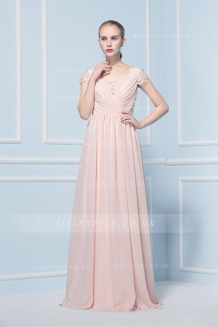 A-line Chiffon Floor-length Cap Sleeve Zipper Bridesmaid Dresses