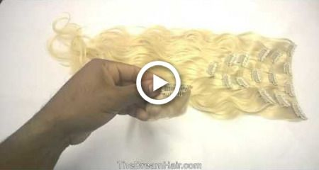 """Set of 7 Pieces Double Weft Clip in Hair Extensions """"Body Wave"""""""