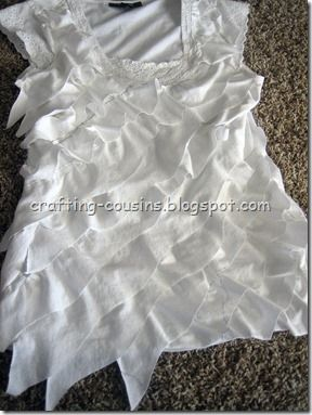 DIY ruffle shirt from 2 hand-me-down shirts! I seriously love this blog. <3