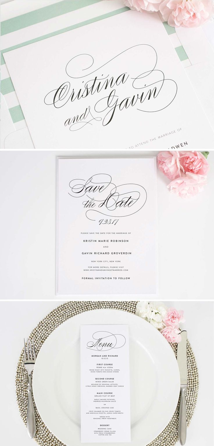 Our simple and gorgeous Script Elegance wedding invitation suite complete with matching save the dates and menus! | Shine Wedding Invitations