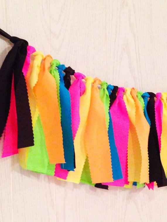 Glow in the Dark Party Neon Fabric Tie Garland by ThePartyTeacher