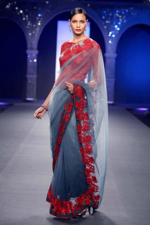 Varun Bahl, Delhi Couture Week 2012 Such an elegant color combination, and I love the look of the sheer sari over the red and grey