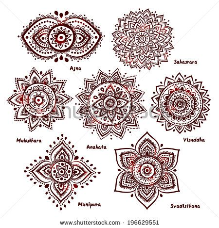 Isolated Set of beautiful ornamental 7 chakras - stock vector