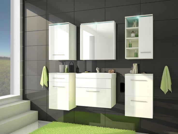 Badkamer Mega uitgevoerd in de kleuren wit / hoogglans wit voorzien van RGB LED verlichting