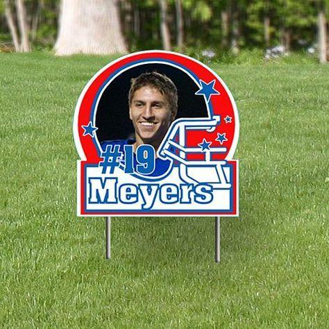 Football Helmet Personalized Photo Yard Signs