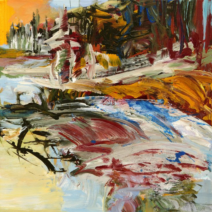 Painting by Veronica Plewman -  EARLY SPRING ICE MELT, 2015 Acrylic on Canvas  20˝ × 20˝