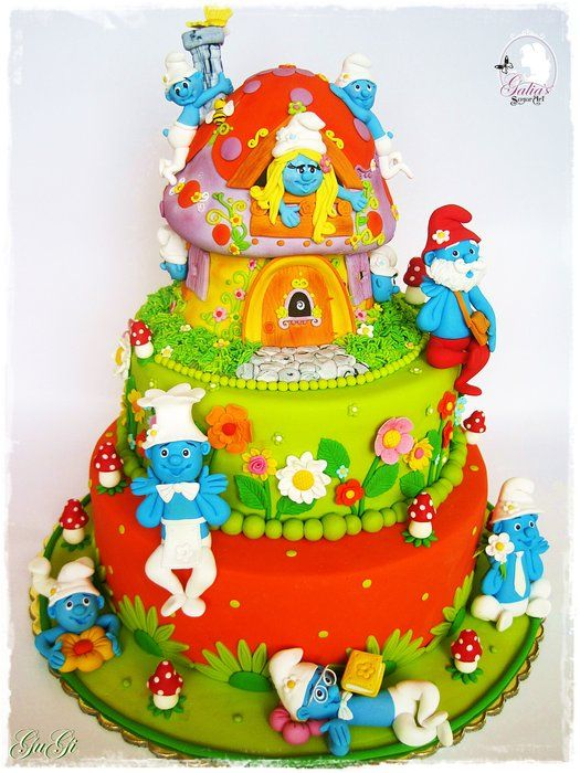EDITOR'S CHOICE (9/17/2013) Cake Smurfs by GuGi  View details here: http://cakesdecor.com/cakes/85066