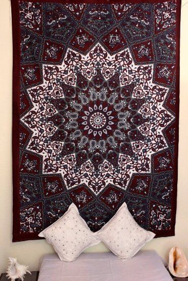 Stylo Culture Indian Mandala Tapestry Maroon Throw Single Cotton Printed Wall Hanging