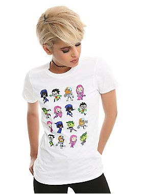 "Head to Jump City and hang out with the gang of Titans Tower! This fitted white tee from the animated series <i>Teen Titans Go!</i> has a colorful characters design featuring Robin, Cyborg, Starfire, Raven and Beast Boy on front.<br><ul><li style=""list-style-position: inside !important; list-style-type: disc !important"">100% cotton</li><li style=""list-style-position: inside !important; list-style-type: disc !important"">Wash cold; dry low</li><li style=""list-style-position: inside !important…"
