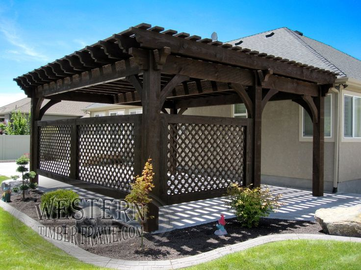 Free standing pergola with Rich Cordoba stain and Champion profile. Upgraded custom lattice walls added.
