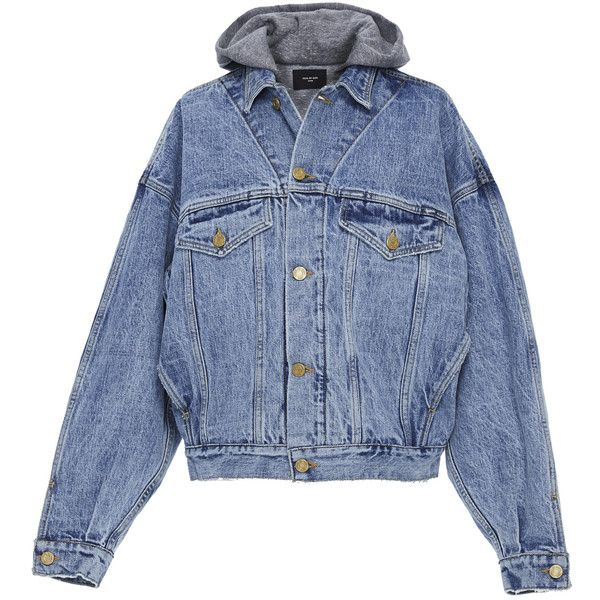 Fear of God Selvedge Denim Terry Hooded Trucker Jacket ($1,195) ❤ liked on Polyvore featuring outerwear, jackets, blue, mens blue jacket and mens oversized denim jacket