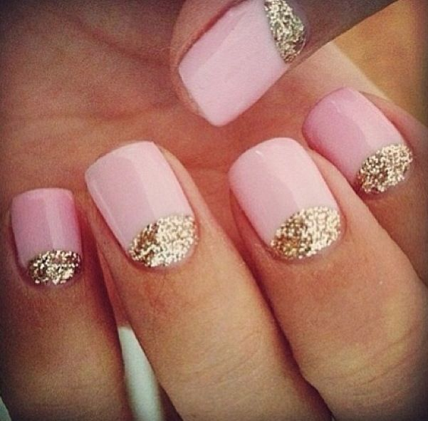 Pink nails with gold glitter