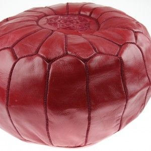 Pouf Marocain en cuir Rouge