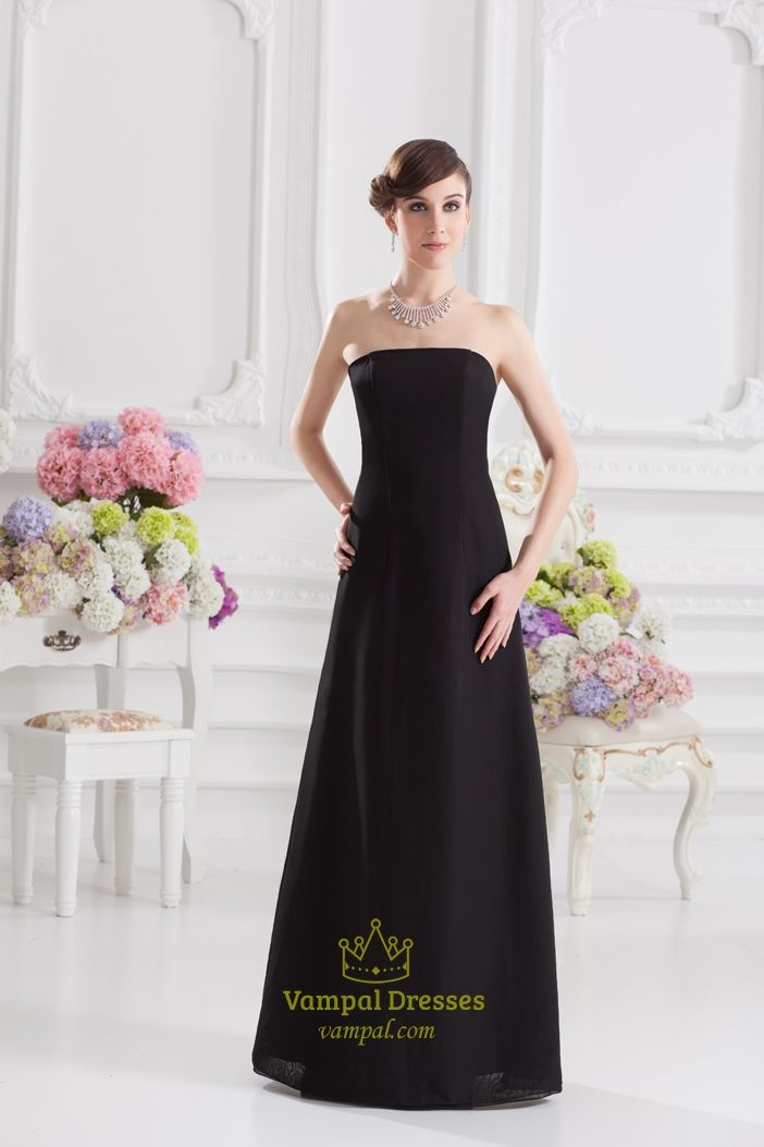 Black Bridesmaid Dresses With Sash,Long Black Strapless Bridesmaid Gown