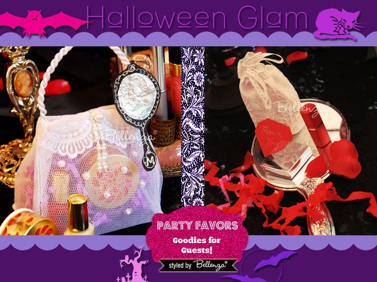 Favors for a Halloween Glam Makeover Party: http://www.bellenza.com/party-ideas/party-crafts/halloween-glam-makeover-party-girls-night