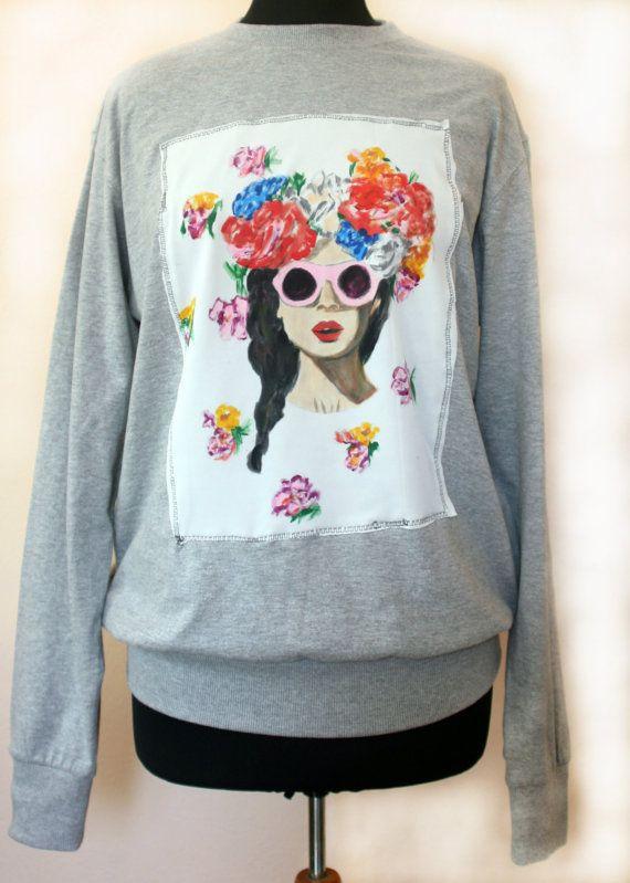 FREE SHIPPING Handmade Handpainted Flowers   Sweatshirt Streetstyle