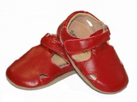 Too sweet - SKEANIE  Sunday Sandals-  Leather Soft Sole Baby Shoes - Red spotted at Not Another Baby Shop